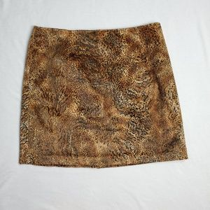 Jones New York Faux Fur Animal Print Skirt 16